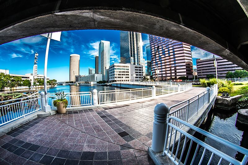 View of Tampa and Hillsborough River along the Riverwalk