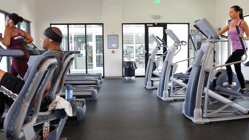 Fitness center with treadmills and steppers in Waterset.