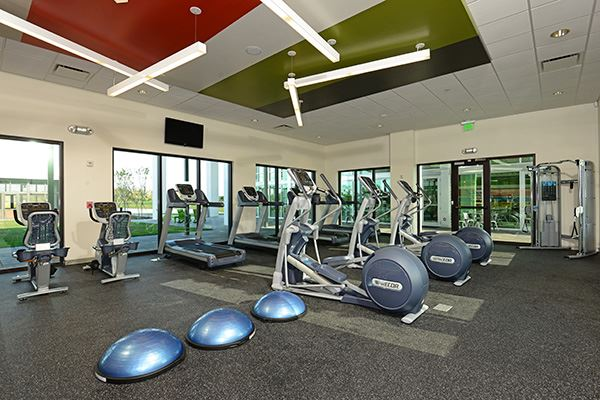 Fitness center and equipment at The Landing in Waterset.