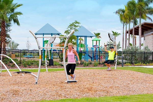 Fitness station at the Lakeside Park amenity in Waterset.