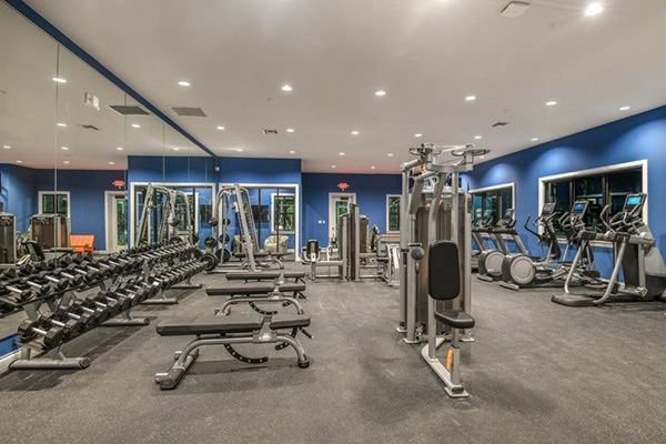Fitness center inside the Waterset Club.