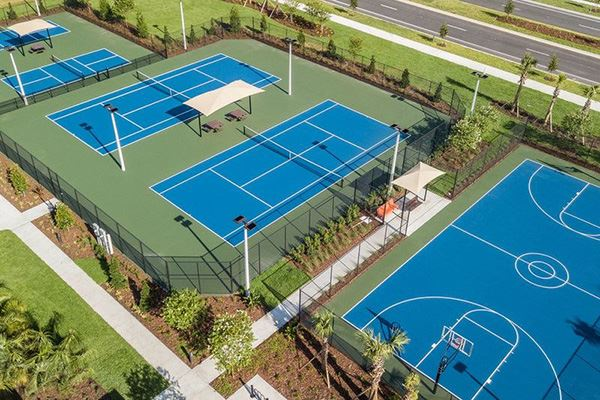 Aerial view of the sports courts amenity at the Waterset Club.