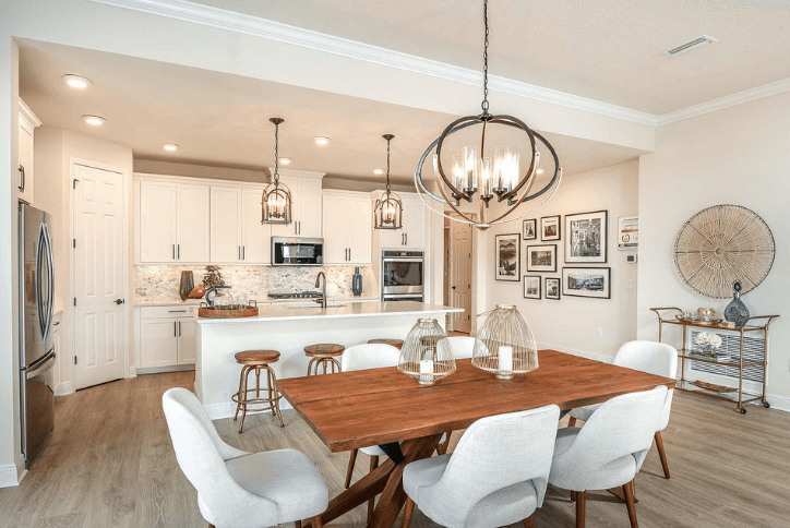 Kitchen and dining area in model home.