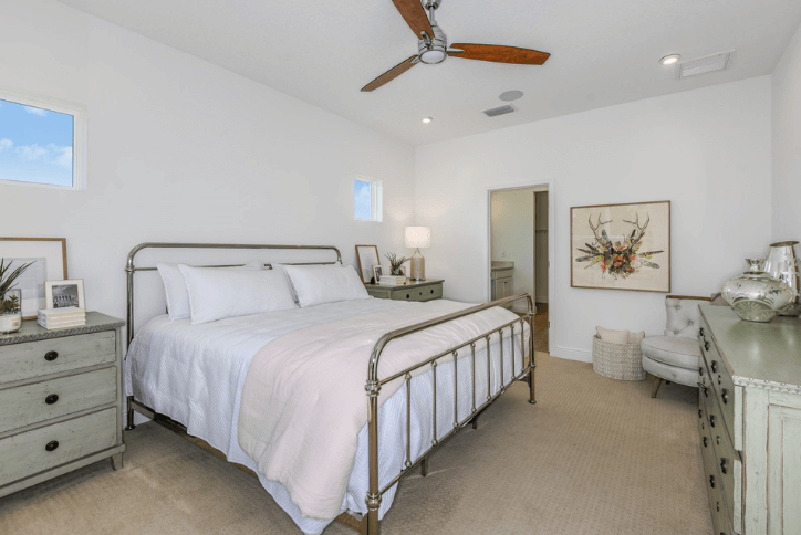 Calmly neutral colors in guest bedroom.