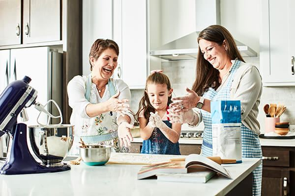 Family baking in their home in Waterset.