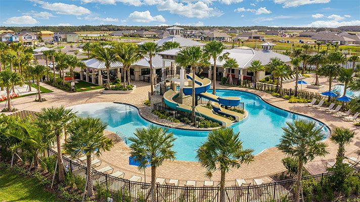 Aerial view of the resort-style pool area at the Waterset Club.
