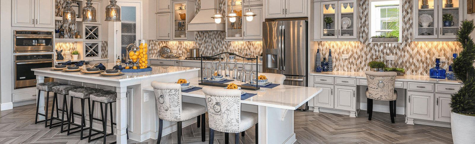 Spacious kitchen with island in the Bayshore model home in Waterset.